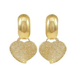 Luxiro Gold Filled Sandblasted Heart Children's Saddleback Earrings - White