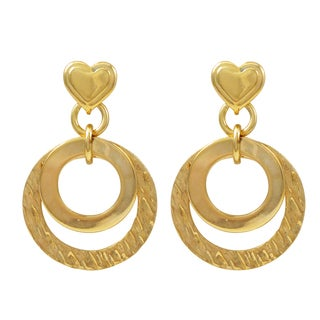 Luxiro Gold Filled Open Circles Heart Dangle Earrings