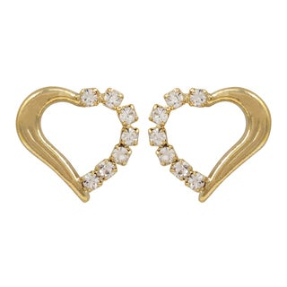 Luxiro Gold Filled Crystal Heart Children's Earrings - White