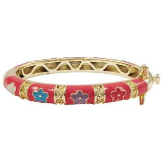 Luxiro Gold Finish Hot Pink and Multi Enamel Flower Children's Bangle Bracelet