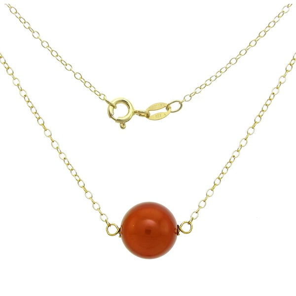 """DaVonna 18k Yellow Gold over Sterling Silver Chain Necklace with 10mm Red Coral Pendant, 18.5"""""""