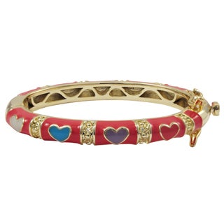 Luxiro Gold Finish Hot Pink and Multi-color Enamel Heart Children's Bangle Bracelet