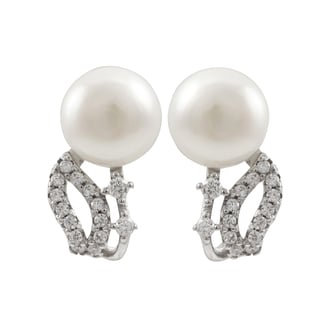 Luxiro Sterling Silver Freshwater Pearl Cubic Zirconia Earrings