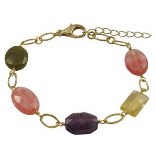 Luxiro Gold Finish Amethyst Semi-precious Gemstone Link Bracelet