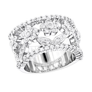 Luxurman Platinum 7/8ct TDW Round Diamond Ring (F-G, VS1-VS2)