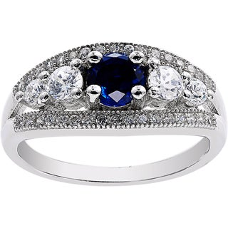 Sterling Silver Simulated Sapphire Cubic Zirconia Vintage-style Ring
