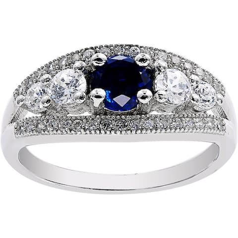 Round-Cut Simulated Sapphire CZ Evil Eye Ring, Sterling Silver