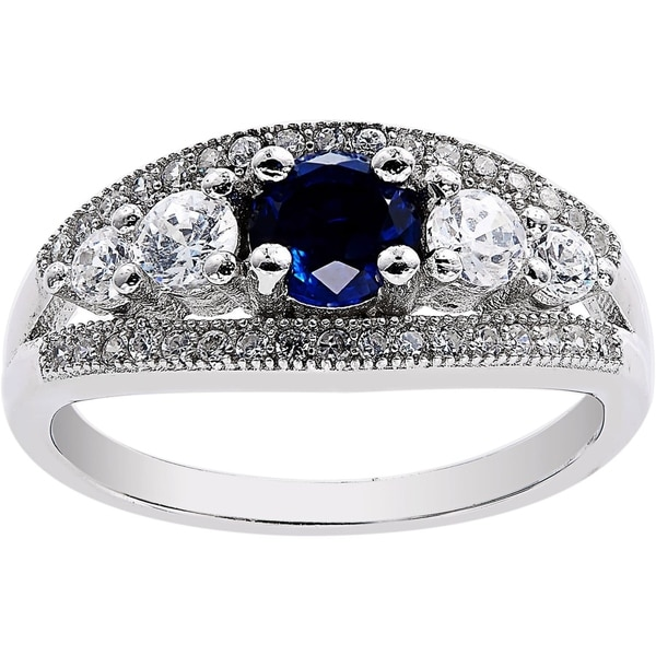 Sterling Silver Simulated Sapphire Cubic Zirconia 5 Stones Ring