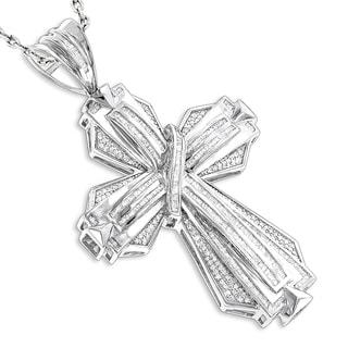 Luxurman 14k White Gold Men's 3 1/2ct TDW Diamond Cross Pendant (H-I, SI1-SI2)