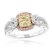Luxurman 14k Tri-color Gold 1ct TDW Unique Diamond Engagement Ring