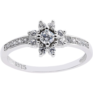 White Sterling Silver Cubic Zirconia-accented Flower Style Ring