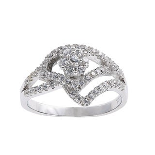 Silver Sterling Silver Pave Cubic Zirconia Geometric Open Work Floral Design Ring