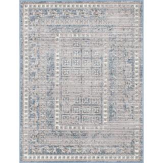 eCarpetGallery Paradis Blue/Grey Viscose Rug (4'1 x 5'7)