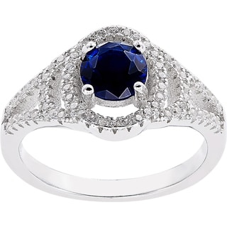 Silver Simulated Sapphire Pave CZ Halo Style Ring