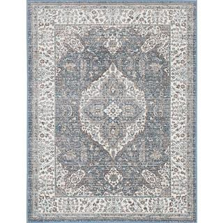 eCarpetGallery Paradis Blue/Ivory Polypropylene/Viscose Rug (4'1 x 5'7)