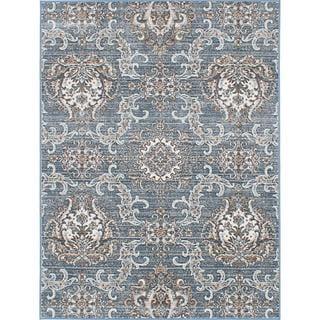 eCarpetGallery Paradise Blue/Brown Viscose/Polypropylene Rug (4'1 x 5'7)