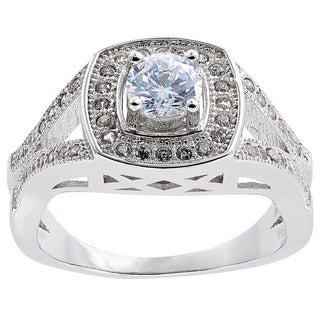 Sterling Silver Cubic Zirconia Vintage Solitare Engagement Style Ring