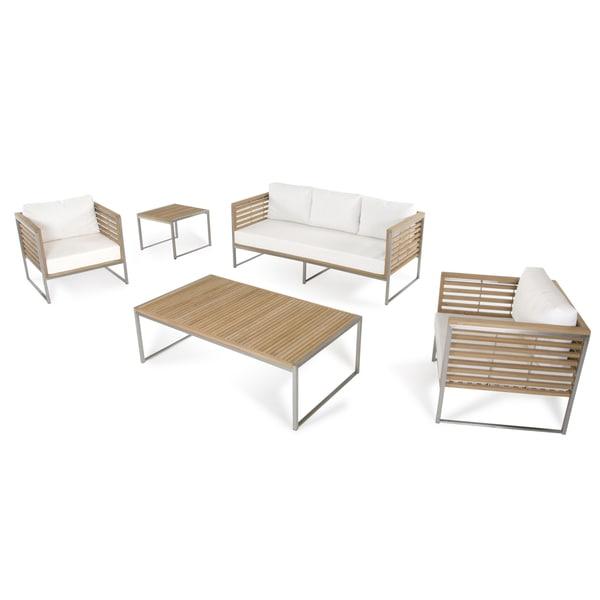 Shop Renava Minorca Outdoor Teak/White Sofa Set - Free ... on Safavieh Outdoor Living Granton 5 Pc Living Set id=45370