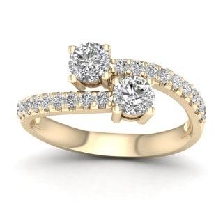 De Couer 14k Yellow Gold 1ct TDW Diamond Two-Stone Ring (H-I, I2)