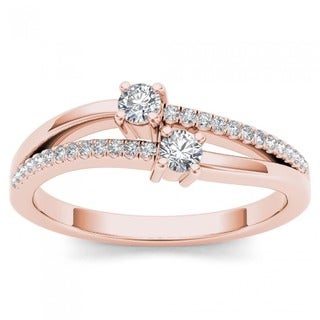 De Couer 10k Rose Gold 1/4ct TDW Diamond Two-Stone Ring (H-I, I2)