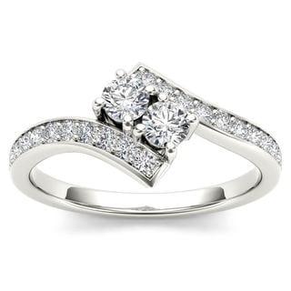 De Couer 14k White Gold 1ct TDW Diamond Two-Stone Ring