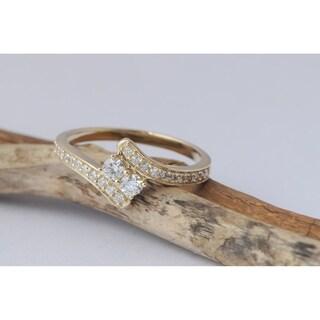 De Couer 10k Gold 1/ 2ct TDW Round Diamond Two-Stone Ring (H-I, I2)