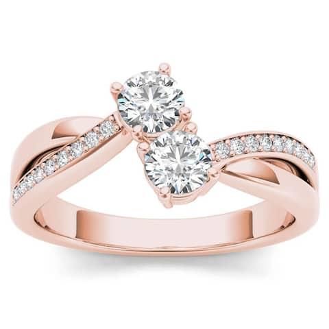De Couer 10k Rose Gold 1/2ct TDW Diamond Two-Stone Ring - Pink