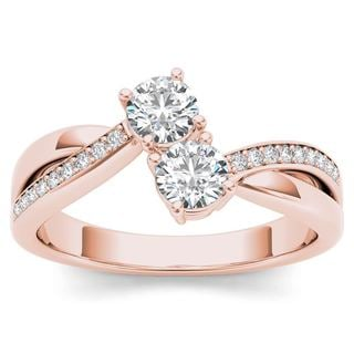 De Couer 10k Rose Gold 1/2ct TDW Diamond Two-Stone Ring - Pink