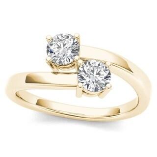 De Couer 10k Yellow Gold 1/6ct TDW Diamond Two-Stone Ring (H-I, I2)