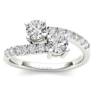 De Couer 14k White Gold 1/2ct TDW Diamond Two-Stone Ring (H-I, I2)