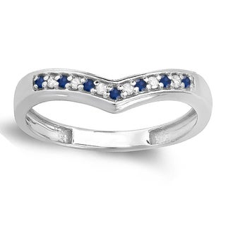 10k Gold 1/6ct White Diamond and Blue Sapphire Wedding Stackable Band Anniversary Guard Chevron Ring (I-J, I1-I2)