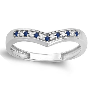 Elora 10k Gold 1/6ct White Diamond and Blue Sapphire Wedding Stackable Band Anniversary Guard Chevron Ring