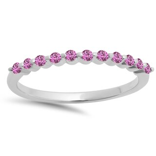 Elora 10k Gold 1/4ct Round Pink Sapphire 11-stone Anniversary Wedding Stackable Band (I1-I2)