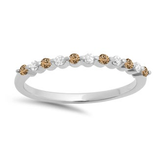 Elora 10k Gold 1/4ct TDW Round Champagne and White Diamond 11-stone Wedding Stackable Band (I-J, I2-I3)