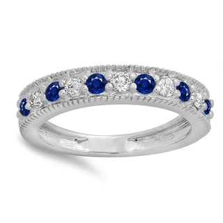 Elora 14k Gold 1/2ct Round Blue Sapphire and White Diamond Milgrain Wedding Stackable Band (H-I, I1-I2)