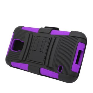 Insten Hard PC/ Silicone Dual Layer Hybrid Case Cover with Stand/ Holster For Samsung Galaxy S5 (Option: Black/Purple)