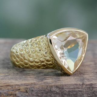 Handcrafted Gold Overlay 'Pyramid' Citrine Ring (India)