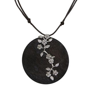 Handcrafted Sterling Silver Pinewood 'Pine Blossoms' Necklace (Brazil)