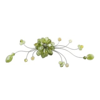 Stainless Steel 'Lime Bouquet' Peridot Quartz Brooch Pin (Thailand)