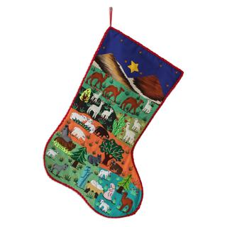 Handmade Applique 'Nativity Scene' Christmas Stocking (Peru)