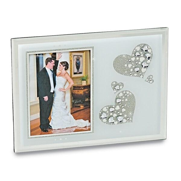 Versil Sparkling Hearts Glass 5-inch x 7-inch Photo Frame