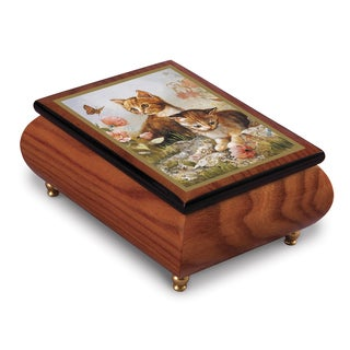 Versil Ercolano Brenda Burke 'Kitten Frolic' Brown Wood Music Box