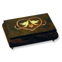 Versil Brown Wood Doves/Heart Inlay Music Box