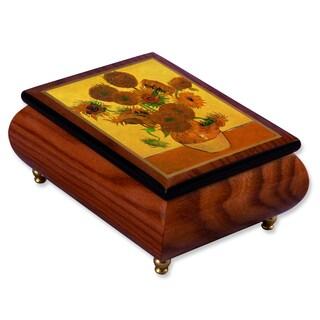 Versil Ercolano Vincent Van Gogh 'Sunflowers' Brown Wood Music Box