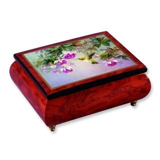Versil Ercolano Len Liu 'Hummingbird with Lilacs' Brown Wood Music Box