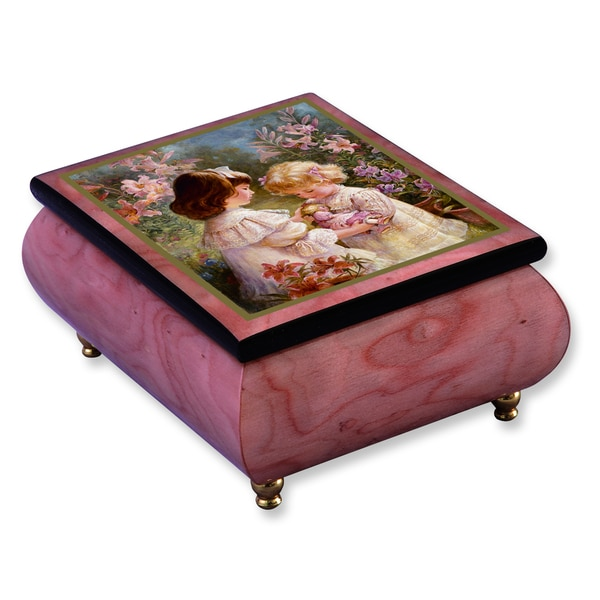 Versil Brenda Burke A Gift of Love Pink Wood Music Box