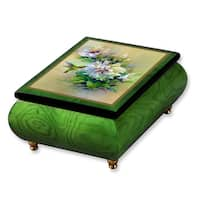 Versil Len Liu Green Wood Double Hibiscus With Ruby Throated Hummingbird Music Box