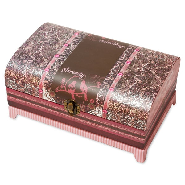 Versil Belle Papier Red, Brown and Pink Paisley Trunk Music Box