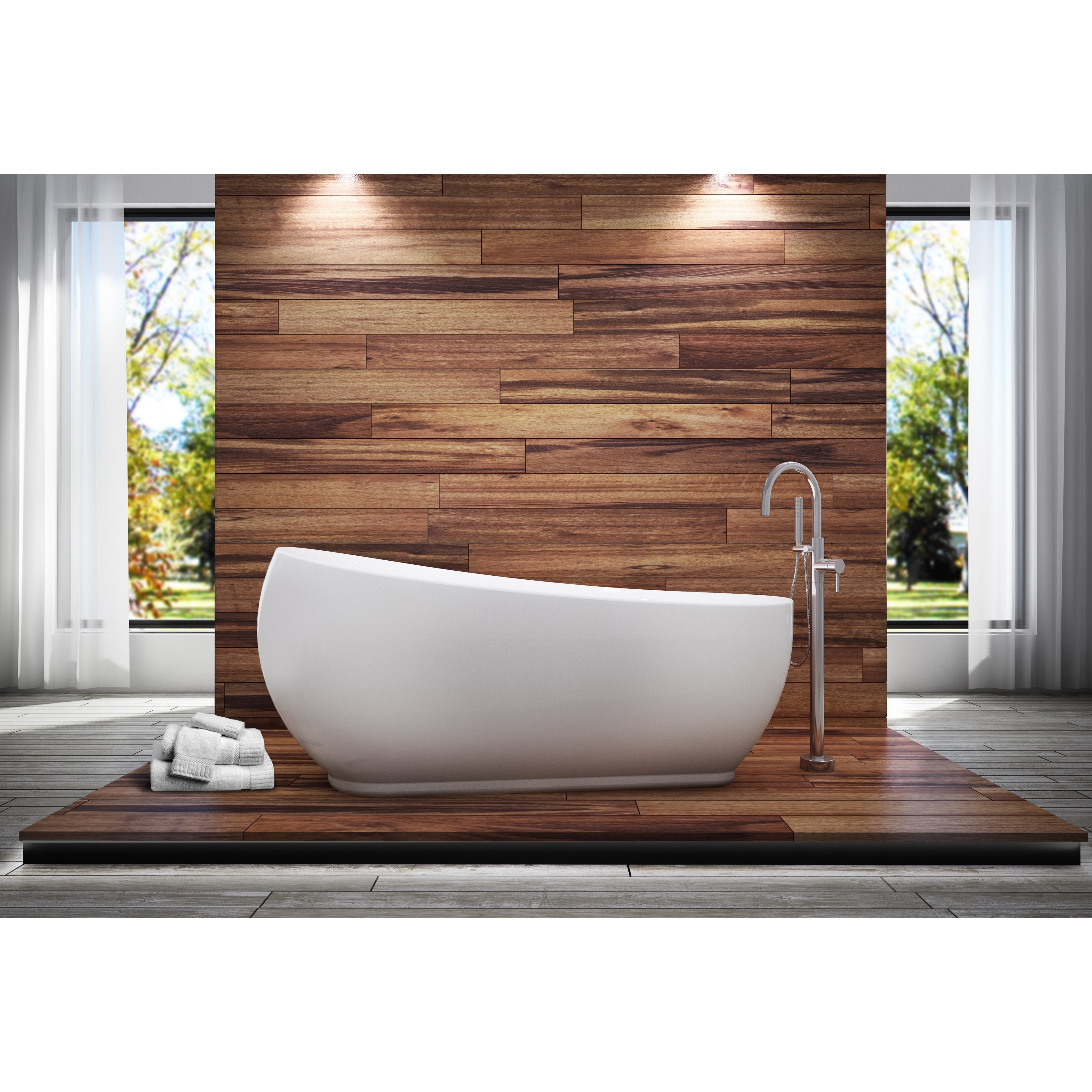 Oslo All-in-one Free-standing Tub Combo, White, Size 66 t...