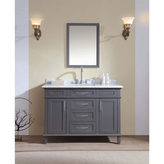 Ari Kitchen and Bath Newport Grey Wood/Marble Single-sink Bathroom Vanity Set